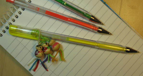 Dayglo pen with danglies