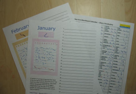 Pitman's New Era Shorthand perpetual calendar and vocabulary lists