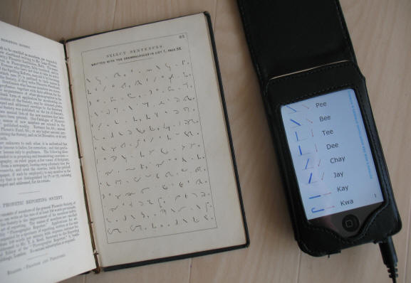 Manual of Phonography 1852 and Ipod open