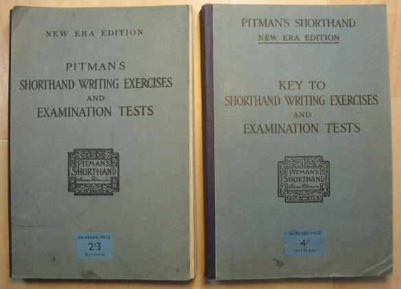 Covers of books: Pitman's Shorthand Writing Exercises and Examination Tests, and Key